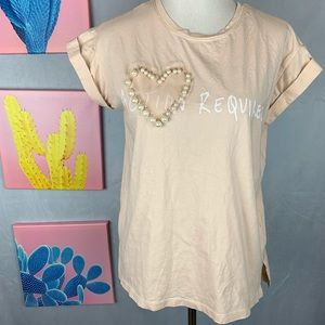 Zara action required Embellished graphic tee M